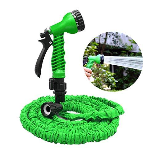 BULY Flexibler Gartenschlauch 25FT Flexibler Gartenschlauch Erweiterung Garten Wasserschlauch Rohr mit 7 Funktion Spritzpistole Erweiterbar Flexible Magic Schlauch Grün,200FT -