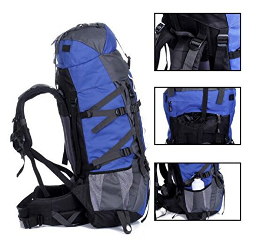 80 + 5L Groß Kapazität Outdoor Sport Bergsteigen Tasche Reisen Camping Rucksack Blue