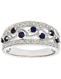 Naava Women's 9 ct White Gold Fancy Sapphire and Diamond Ring