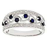 Naava Women's 9 ct White Gold Fancy Sapphire and Diamond Ring