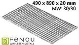 Fenau | Gitterrost/Baunorm-Rost Maße: 490 x 890 x 20 mm - MW: 30 mm / 30 mm (Vollbad-Feuerverzinkt) (Passend für Zarge: Fenau 500 x 900 x 23 mm) Industrie-Norm-Rost für Lichtschacht