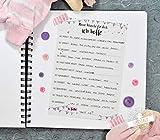Baby-Shower Gästebuch Taufe Babyparty 10 Karten mit Fragen zum Ausfüllen gute Wünsche rosa