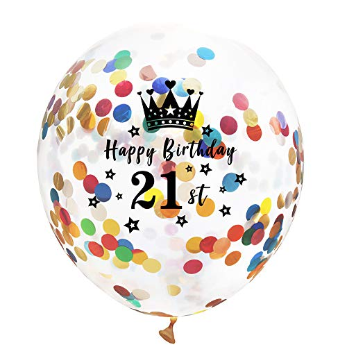 y Party Luftballons Konfetti Transparent Ballon Geburtstagsfeier Luftballons für Hochzeit Mädchen Kinder Geburtstag Party Deko(21st) ()