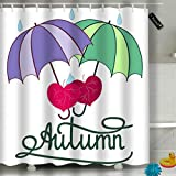 Bathroom Shower Curtain Quote Rainy Day with Umbrella Waterproof Fabric Shower Curtain 60(W) X 72(L) Inches For Men Women Kids