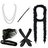 iLoveCos Disfraces de Roaring 20s 1920's Accesorios para disfraz de charlestón (Venda para el pelo,Earing traducción espanol,Collar de Perlas,Canastilla de cigarro,guantes) (M7)