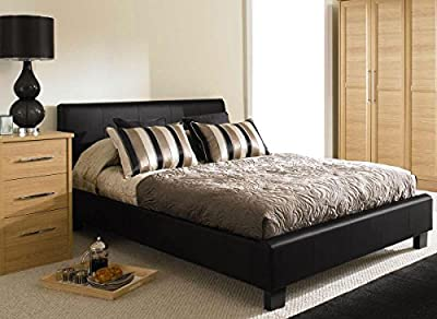 NEW 5ft BLACK MODERN FAUX KING SIZE LEATHER BED FRAME