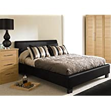 MODERNIQUE® 4ft6 Double Black Designer Modern Faux Leather Bed Frame