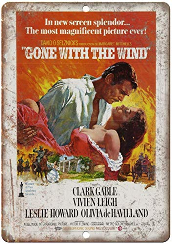 HALEY GAINES Gone with The Wind Clark Gable Metall Blechschilder Dekoration Retro Stil Schild Vintage Aluminium Poster Original Wandkunst Für Bar Cafe Küchen Garagen 20×30cm (Gone With The Wind Bilder)
