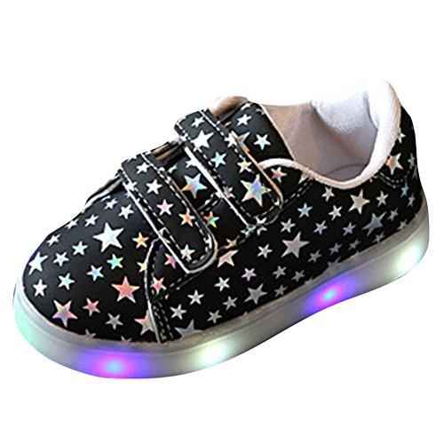 hibote Kleinkind Jungen Mädchen Aufleuchten Schuhe LED Turnschuh Schwarz