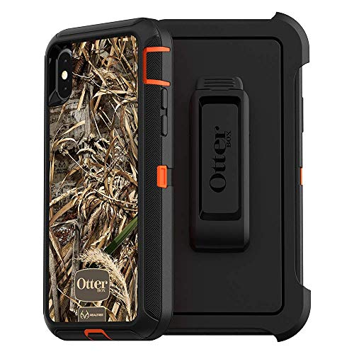 OtterBox DEFENDER SERIES SCREENLESS EDITION Case for iPhone Xs & iPhone X - Retail Packaging - (BLAZE ORANGE/BLACK/MAX 5 CAMO) (Renewed) -