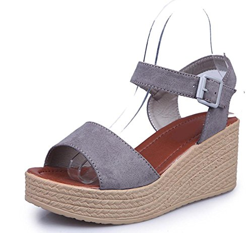 Frau Hang mit Sandalen High Heels Schuhe Fischkopf dicke Kruste Schuhe Muffin Student Grey