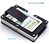 #3: Dahsha Slim RFID Blocking metal wallet aluminum Credit card holder with money Clip for Men – Black