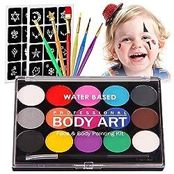 Kinderschminke Set Gesichtsfarbe,Siebwinn Professionelle Schminkpalette 15 Farbe Waschbar Farben+24 Schablonen+7 Pinsel, Professionelle Organische Facepaints Für Weihnachten Deko