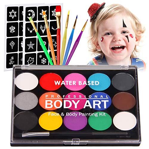 Kinderschminke Set Gesichtsfarbe,Siebwinn Professionelle Schminkpalette 15 Farbe Waschbar Farben+24 Schablonen+7 Pinsel, Professionelle Organische Facepaints Für Halloween Weihnachten Party
