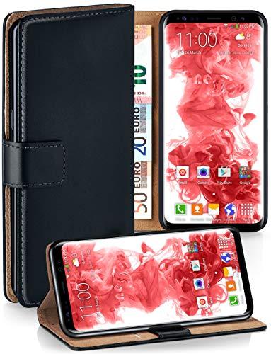 moex Booklet mit Flip Funktion [360 Grad Voll-Schutz] für Samsung Galaxy S8 | Geldfach und Kartenfach + Stand-Funktion und Magnet-Verschluss, Schwarz