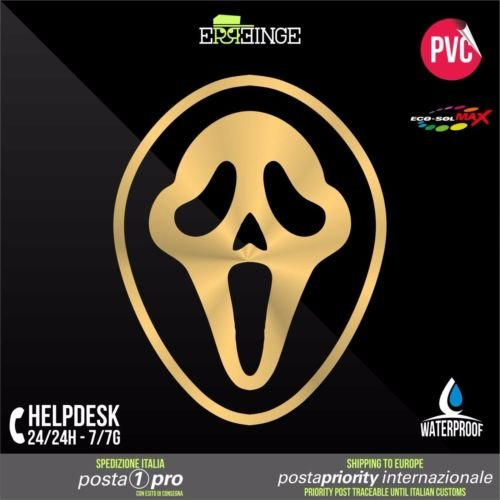 RE-SPACED oro 22cm - Ghostface Scream Horror Halloween - Aufkleber Decal Transfer Vinyl Wandaufkleber Laptop Auto Motorrad Helm Camper ()
