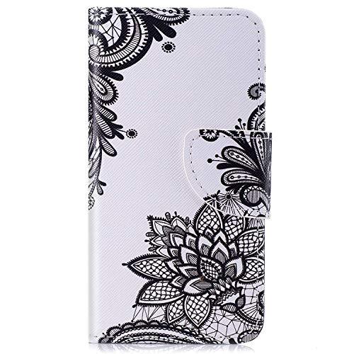 kompatibel mit Huawei Y5 II Hülle,Huawei Y6 II Compact Lederhülle,Huawei Y6 II Compact Tasche Leder Flip Case Brieftasche Etui Schutzhülle Flip Hülle Handytasche für Huawei Y5 II,Schwarz Blumen -