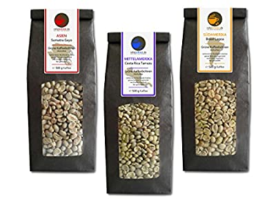 Green Coffee Beans Sumatra, Costa Rica, Brazil (highland raw coffee beans, 3x500g value pack) by Rohebohnen