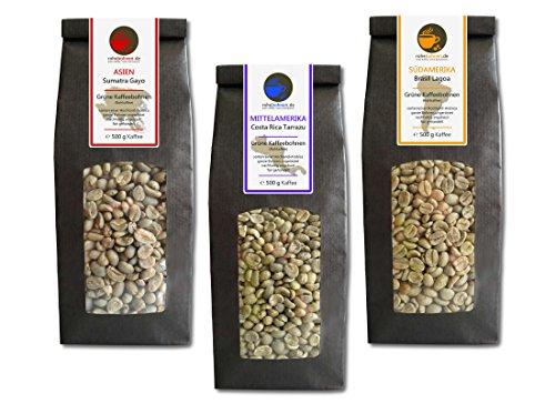 Rohkaffee - Grüner Kaffee Sumatra, Costa Rica, Brasil (grüne Kaffeebohnen Sparpack 3x500g)