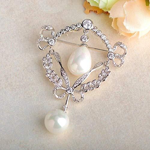 JXtong2 Spilla Spilla di Perle Imitazione Rame Argento Vestito Borsa Cappello Decorazione Signore Spille Banchetto Matrimonio...