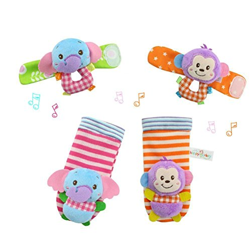 Foto de YeahiBaby 4pcs bebé muñeca animales sonajeros infantil manos pies buscadores desarrollo peluches (mono y elefante)