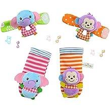 YeahiBaby 4pcs bebé muñeca animales sonajeros infantil manos pies buscadores desarrollo peluches (mono y elefante)