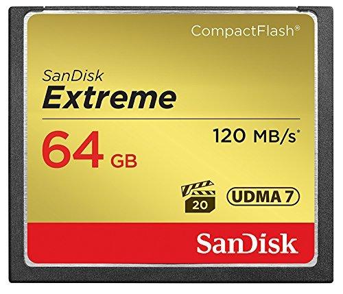 SanDisk SDCFXSB-064G-FFP Tarjeta de memoria Compact Flash de 64 GB (velocidad de lectura de 120 MB/s, velocidad de escritura de 85 MB/s, UDMA 7), dorado