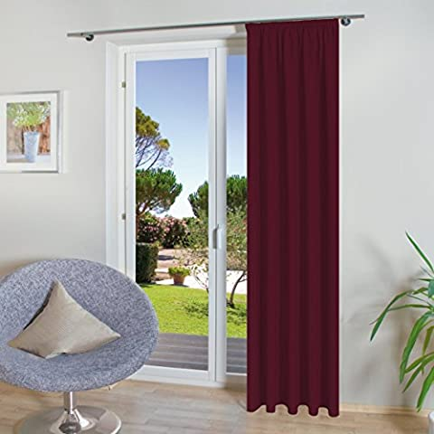 Modern Curtain in Gift Box with Mediterranean Colors (Selection) x Width 140 cm Length 245 cm Curl Ribbon/Universal Strap – Quality from the Kamaca Shop Rot /