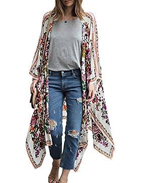 Mujer Bikini Largo Cardigan Bohemian Vintage Impresión Estilo Étnico Kimono