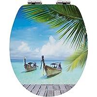 Sanwood by Nicol 6097937Curaçao 3D Abattant de WC en panneau MDF, cœur en bois–Charnière Barre en métal plaqué chrome