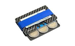 Porte Carte de Crédit en Carbone - Etui pour Carte Bancaire Carte Bleue - Mini Portefeuille et Porte Monnaie Fin - Sécurisé et Protégé Anti RFID NFC - Avec Carte Multitool Outil Polyvalent