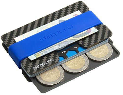 Carbon Slim Wallet mit Münzfach - Kreditkartenetui mit CoinCard und Geldklammer für bis zu 16 Karten - RFID Schutz - Minimalisten Geldbeutel mit MultiTool | Kartenetui, Kreditkartenhalter Modell 2018 (Wallet-mit Münzfach Slim)