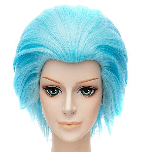 Perruques Résistantes Bleu Court Cosplay Partie Droite Cheveux Anime De Chaleur Glacée Pleine Perruque