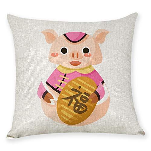 FASTCX 2018 Herzlichen Glückwunsch zum neuen Jahr des Schweins Happy Cotton und Kissenbezug New Year Geschenkkissen Autokissen C 400g PP Baumwollkissen