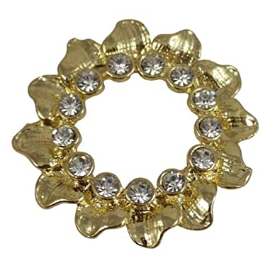 Wreath Shaped Gold Effect Scarf Clip, Brooch, Scarf Tie with Diamante Detail