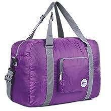 Wandf Leichter Faltbare Reise-Gepäck Handgepäck Duffel Taschen Übernachtung Taschen/Sporttasche für Reisen Sport Gym Urlaub Weekender handgepaeck (40L Lila)
