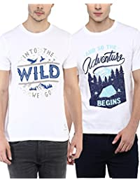 100% Cotton Round Neck Printed Summer T-Shirts For Men Combo Pack By Wilderoo - White