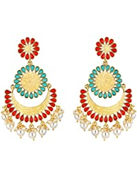 Spargz Ethnic Multi Color Gold Plated Floral Enamel Work Chand Bali Earrings For Women AIER_1361
