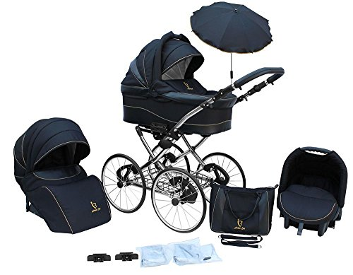 *Kinderwagen AmberLine Classica Retro_BLACK, 3 in 1- Set Wanne Buggy Babyschale*