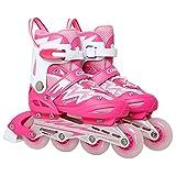 kele Quad Rollschuhe,LED-Licht, einzelrad,4 Rad Inline-Rollerblades Einstellbare Rollschuh Outdoor Skating für anfänger-C M Einstellbarer (31-36) Code