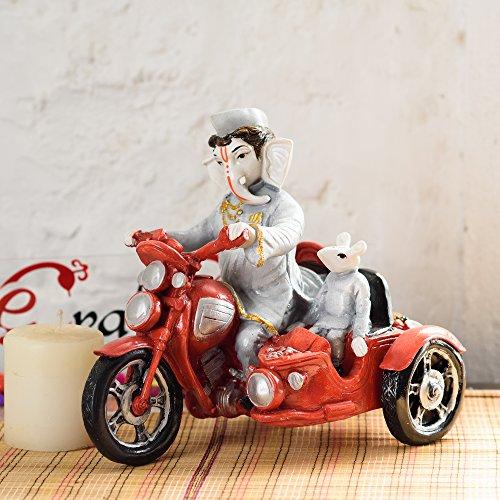 eCraftIndia Polyresin Hindu Lord Sitting Resting Ganpati Figurine for Home Decor (Red) 51GKXmfKh5L