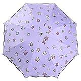 Ai-life Magic Farbwechsel Regenschirm, Regenschirm aschenschirm, Faltbar Kompakt Vinyl Sonnenschirm UV-Schutz Winddicht Regenschirm, ändert Farbe bei Nässe, Kompakte Design, 8 Verstärkten Rippen, in Sterne-Form