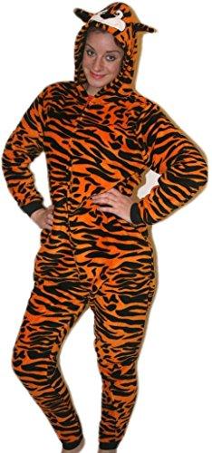 (Strampelanzug / Einteiler für Erwachsene und Kinder, Tiger, aufgedrucktes Tiermuster, Unisex-Kostüm, auch toll als Schlafanzug)