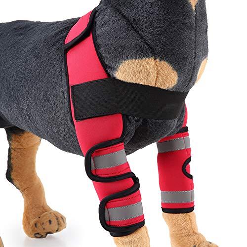 Hmpet Hund Ellenbogenschutz Mit Reflexstreifen, Pet Ellbogen Klammer Hund Beinstütze Hundebein Ärmel Für Chirurgische Verletzungen Verstauchungsschutz (1 Paar),Rot,L -