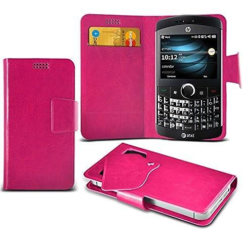 (Hot Pink) HP iPAQ Glisten Caso fino estupendo Faux Leather succión Pad Monedero piel de la cubierta con el crédito / débito ranuras para tarjetasBy