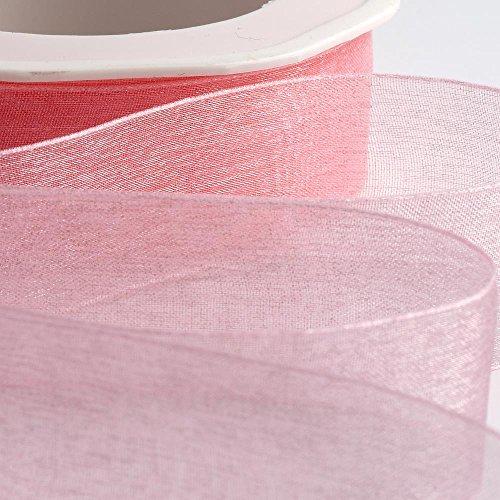 10mm Rosa Organzaband, gewebter Rand, 50m Wedding Favour Box Dekoration. Verkauf und Versand aus der UK