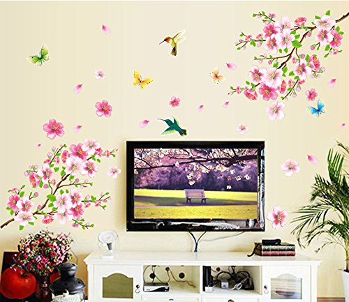 Ufengke® fiori di pesco romantici e uccelli in volo adesivi murali, camera da letto soggiorno adesivi da parete removibili/stickers murali/decorazione murale