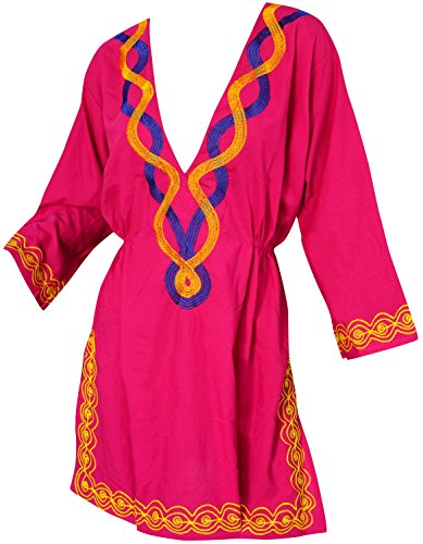 verschleiern Tunika bestickt langen Ärmeln Damen Badeanzug schwimmen rosa (Damen-badeanzug Bestickte)