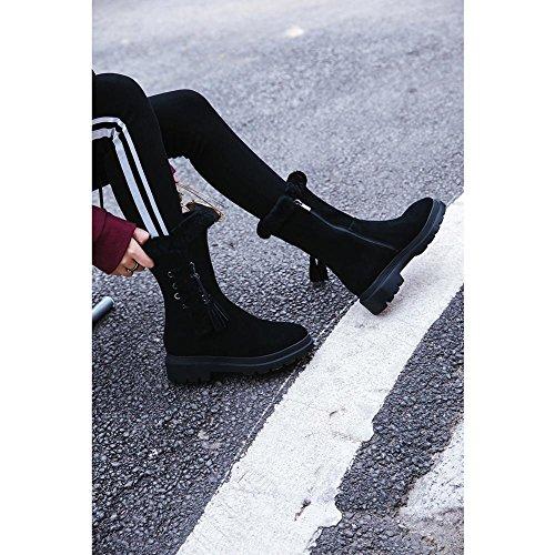 Donna Martin Stivali WSXY5110 Scarpe Invernali da Neve Creative Design Cerniera Laterale,KJJDE black