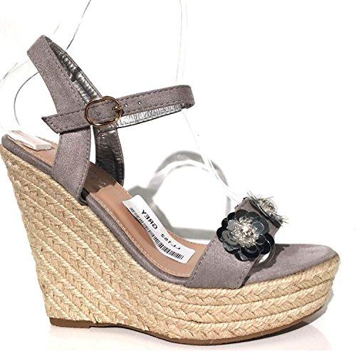 Trendige Damen Riemchen Keil Sandaletten Pumps Keilabsatz Wedges Keilpumps High Heels Peep Toes Schuhe Bequem KA3 Grau